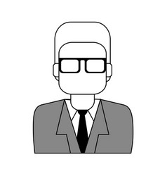 sketch color silhouette half body executive man vector image