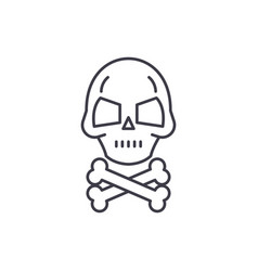 skull with bones line icon concept skull vector image