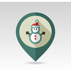 Snowman flat pin map icon vector