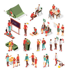 Social inequality isometric icons vector