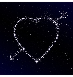 Starry heart pierced with arrow vector image