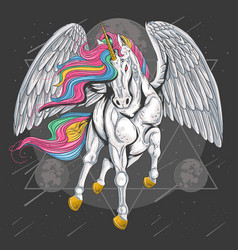 unicorn horse full colour with wings fly on sp vector image