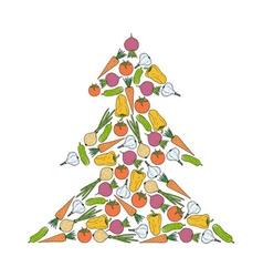 vegetarian christmas tree from vegetables vector image