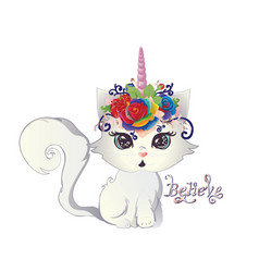 white kitten unicorn vector image