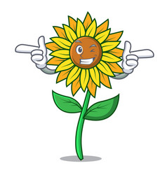 wink sunflower character cartoon style vector image