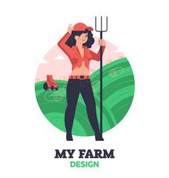 Woman farmer with hayfork vector