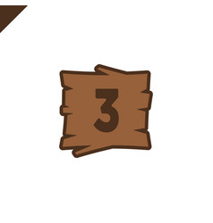 wooden alphabet blocks with number 3 in wood vector image