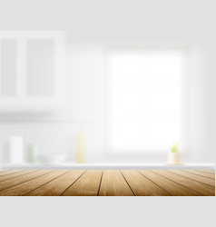Wooden table on a kitchen background vector