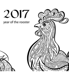 Year of the rooster Black and white image a in vector image