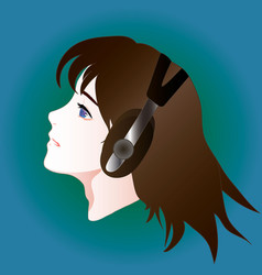anime style portrait of girl in headphones vector image vector image