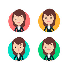 Business woman profile in many expression vector