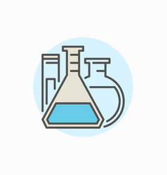 flasks and test tube colorful icon vector image vector image
