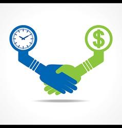 handshake between men having time and money vector image