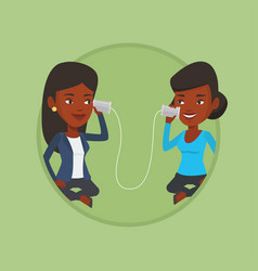 young friends talking through tin phone vector image