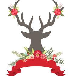 Christmas Deer Antlers with FlowersBanner set vector image vector image