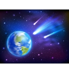 Comets Coming To Earth Background vector image vector image