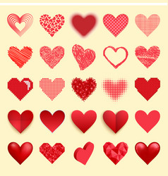 differents red heart icons isolated love vector image vector image