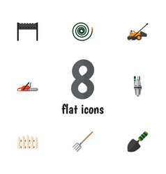 Flat icon dacha set of barbecue hay fork vector