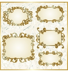 floral swirly golden frames vector image vector image