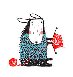 funny sheep knitting sweater vector image