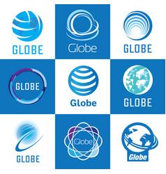globe logo set vector image