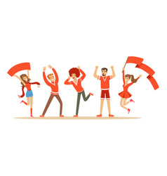 group of sport fans in red outfit supporting their vector image