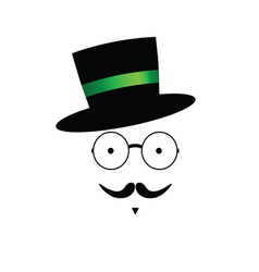 mustache face with hat color vector image