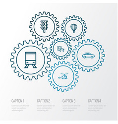transport outline icons set collection of sign vector image vector image