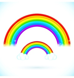 Bright isolated rainbows with clouds vector image