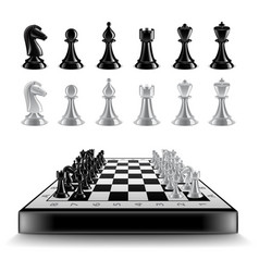 chess board with figures isolated on white vector image vector image