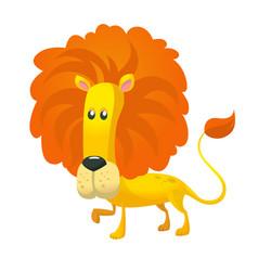 cute cartoon lion character wild animal vector image