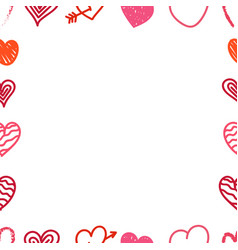 different valentines day hand color drawn hearts vector image
