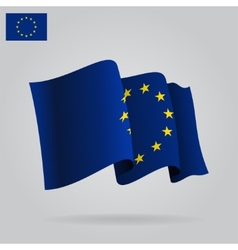 Flat and waving European Union Flag vector image vector image