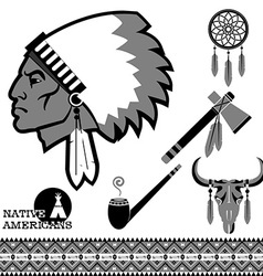 North american indian man portrait and traditional vector image vector image