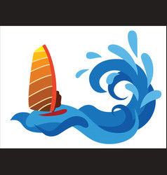 surfer on the sea abstract vector image