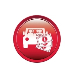 Button with car and bills vector