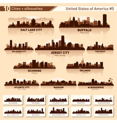 City skyline set 10 city silhouettes of USA 5 vector image vector image