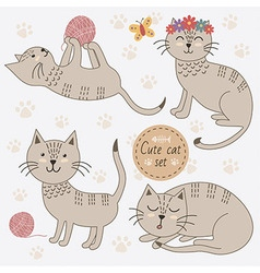 Cute cats in different poses set vector