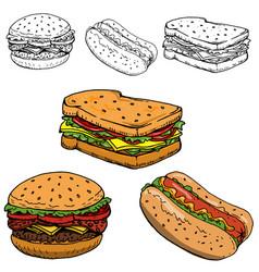 hamburger sandwich hot dog hand drawn vector image vector image
