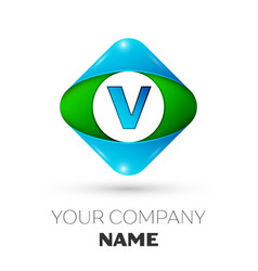 realistic letter v logo in colorful rhombus vector image vector image