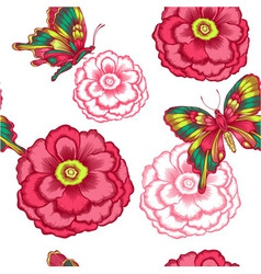 seamless pattern with decorative flowers and vector image