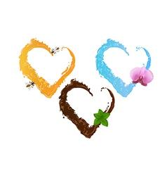 Three liquid hearts chocolate honey and water vector image vector image