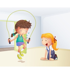 A girl playing jumping rope inside the room vector