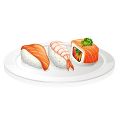 A plate of sushi vector
