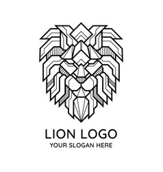 abstract geometric lion face logo vector image