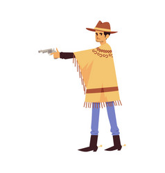 Actor in scenic costume cowboy with gun flat vector