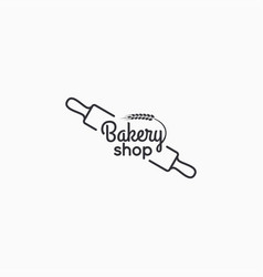 bakery shop logo wheat on white background vector image