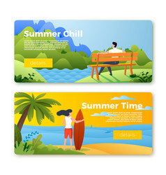banners with man outdoors surfboard girl vector image