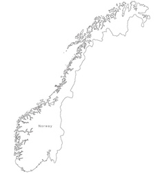 Black White Norway Outline Map vector