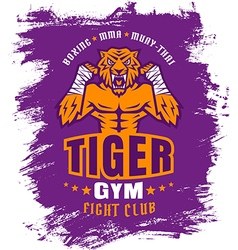 Boxing tiger purple vector